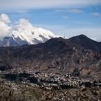 El Illimani visto desde la ciudad de La Paz